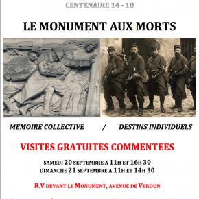 20 et 21 septembre 2014, Journées Européennes du Patrimoine, Centenaire de la guerre 14-18