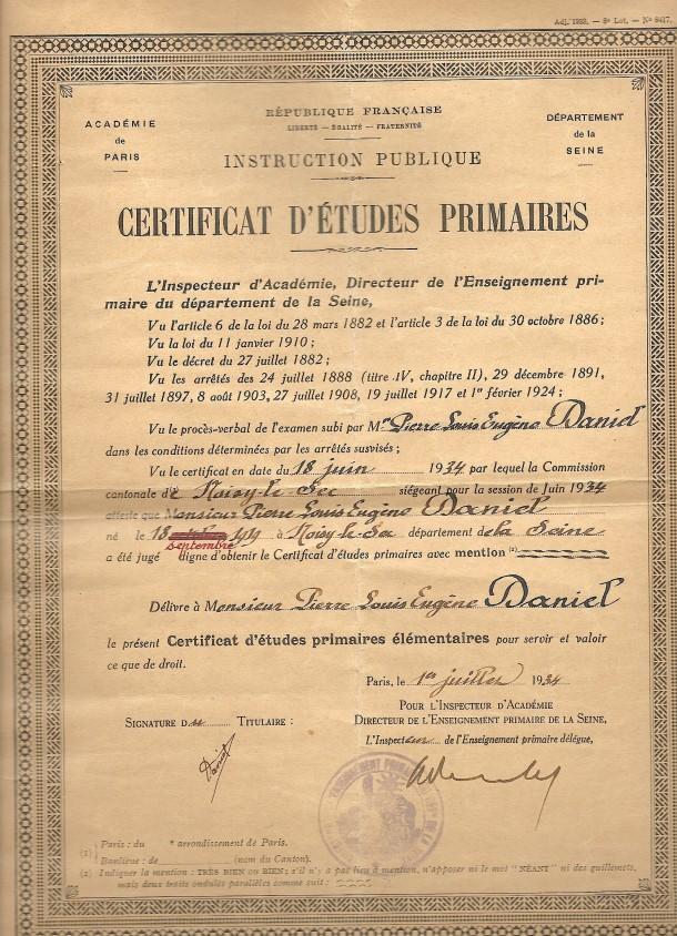 1934 certificat d'études