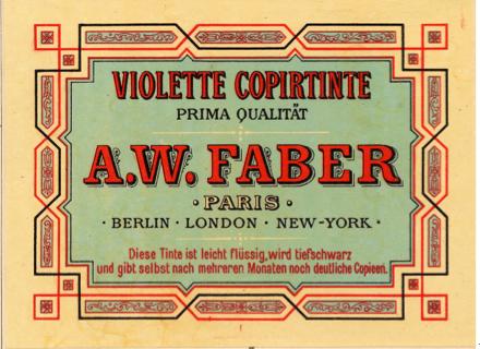 Etiquette d'encre, catalogue A.W. Faber, 1882