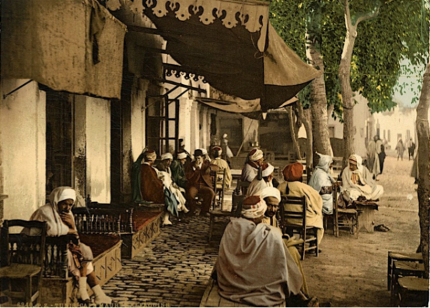 Tunisie, café maure début du 20ème siècle