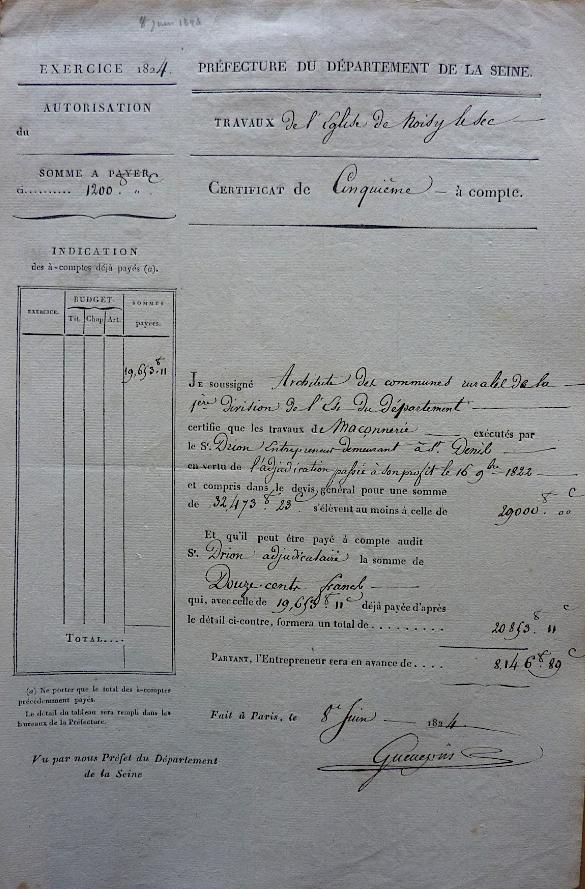 1824 - facture portant la signature de Guenepin