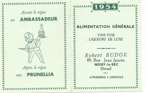 calendrier publicitaire année 1954