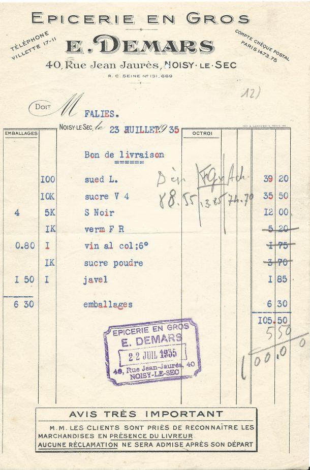 facture Demars 1